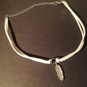 Leather necklace, leaf charm. Minimalist